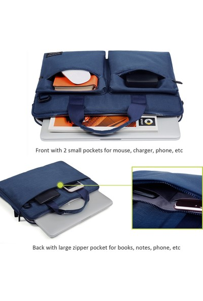 """Cartinoe MacBook 15.4"""" Su Geçirmez Omuz Askılı Notebook Evrak Çantası Suit 420 Mavi"""