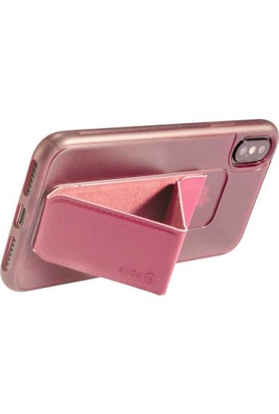 Roar Apple iPhone Xs Max Aura Standlı Şeffaf Silikon Kılıf Red