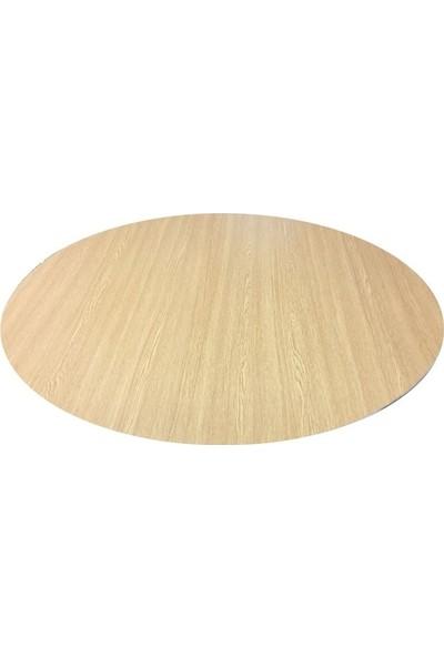 Metal Katlanır Ayaklı Yuvarlak Masa Sini Ahşap Yer Sofrası 90 cm