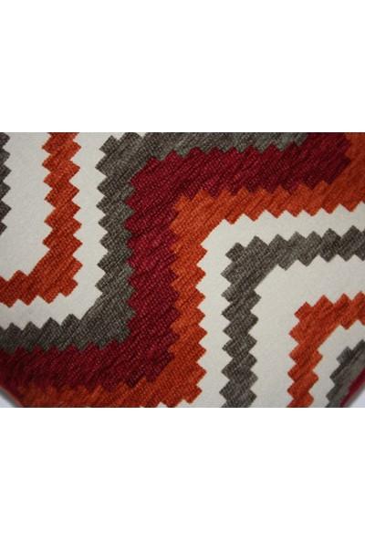 Navajo Yastık Kılıfı I Kırmızı&turuncu Geometrik Desenli Dokuma Kumaş Dekoratif Kare Kırlent 49 x 49 cm