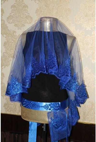 Kına Dükkanı Mavi Simli Özel Duvak Seti