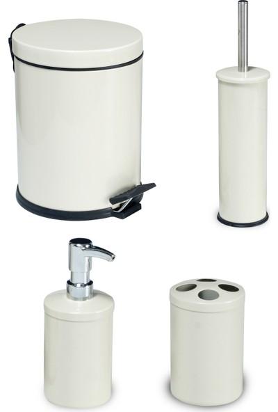 Foreca Banyo Seti 4'lü Beyaz 5 lt Çöp Kovası Fırça Sabunluk