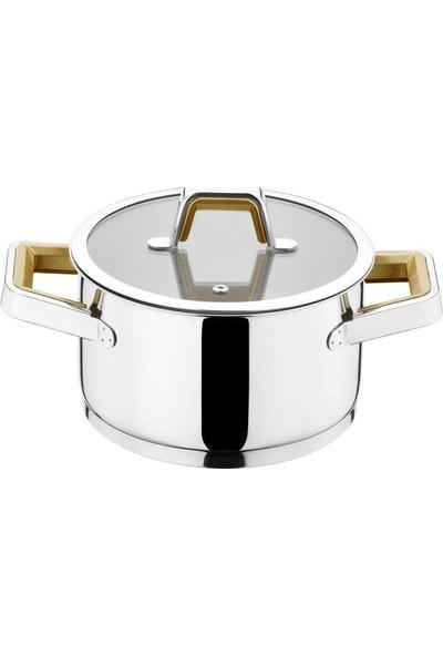 Kütahya Porselen Silindir 18 Parça Çelik Çeyiz Seti Gold CLKSLN18CYZCRBGLD