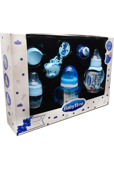 Baby Time 5'li Mavi Biberon ve Emzik Seti