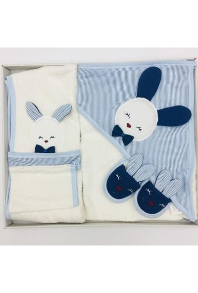 Gaye Erkek Bebek Mavi Kulaklı Tavşan Bornoz Seti