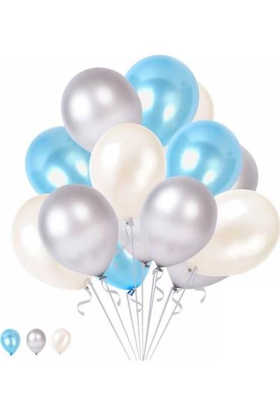 Happyland 10 Mavi 10 Beyaz 10 Gümüş Konsept Balonlar Metalik Parlak 30-35 cm