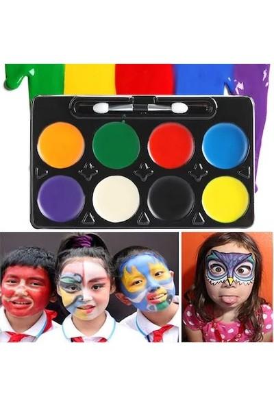 Happyland 8 Farklı Renkte Yüz Boyası Palyaçolar Için Çocuk Yüz Boyama Seti 13 x 8 cm