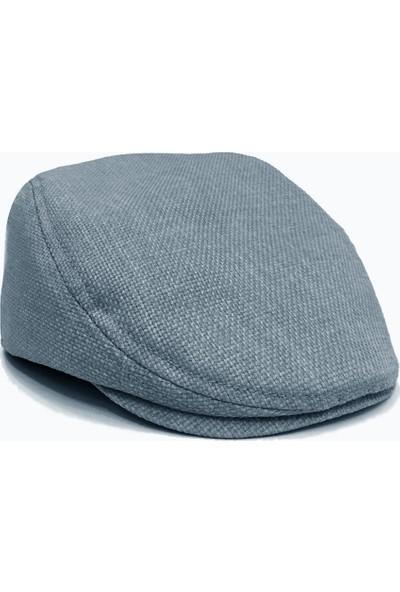 Külah Mavi Keten Kasket Şapka