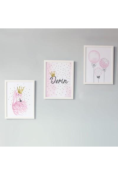 Minik Ayı Bebek Odası İçin 3'lü İsme Özel Kuğu ve Balonlar Çerçeve / Tablo Seti