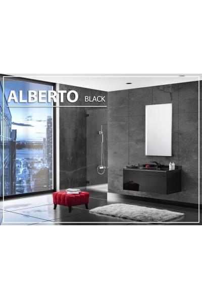 Gold Ban-Yom Alberto Black Banyo Dolabı + Ayna Ünitesi + Cam Lavabo