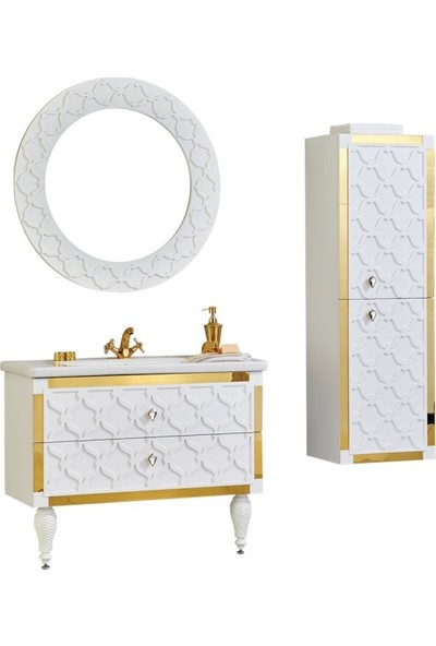 Gold Ban-Yom Afrodit Banyo Dolabı + Ayna Ünitesi + Boy Dolabı + Seramik Lavabo