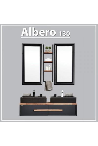 Gold Ban-Yom Albero 130 cm Banyo Dolabı + 2 Adet Seramik Lavabo