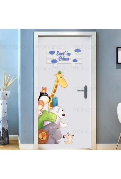Morvizyon Kişiye Özel Ahşap Çocuk Odası Kapı ve Duvar Süsü Isimlik - M224 Mavi