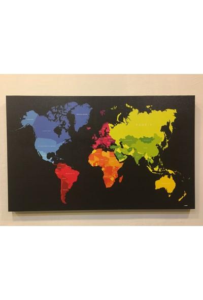 Mapofx Kanvas Dünya Haritası Siyah Zeminli
