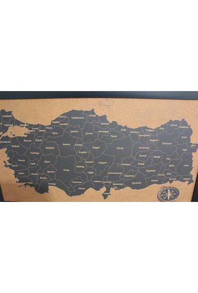 Mantar Türkiye Haritası Siyah - Pinlenebilir Harita