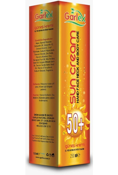 Garlex Güneş Kremi 50+ Faktör, 250 ml Aile Boyu