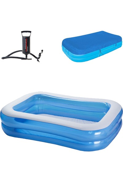 Bestway Şişme Jumbo Havuz Pompa Örtü Seti Mavi 262X175 cm
