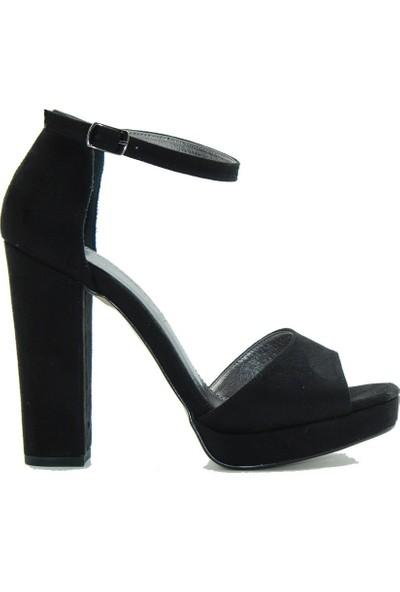 Park Moda 08-15 Park Moda Kadın Sandalet Siyah Süet