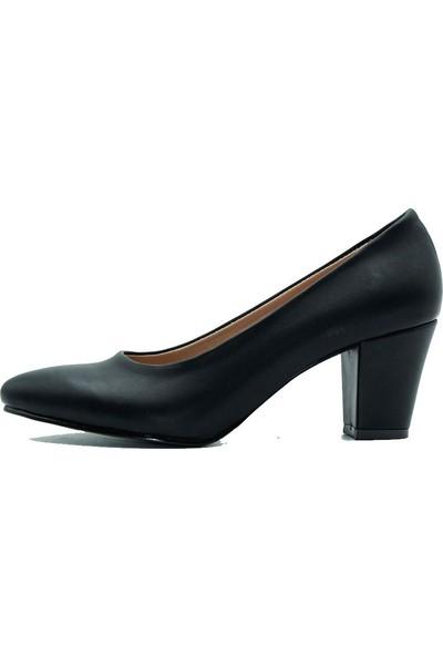 Aktenli 657 Kadın Topuklu Ayakkabı Siyah Cilt