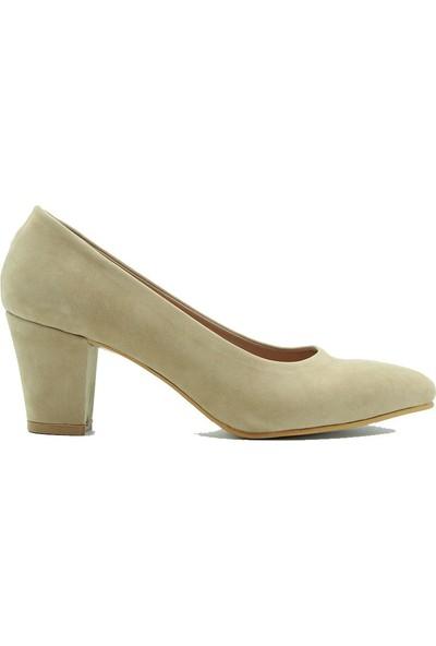 Aktenli 657 Kadın Topuklu Ayakkabı Vizon Süet