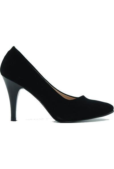 Aktenli 658 Kadın Topuklu Ayakkabı Siyah Süet