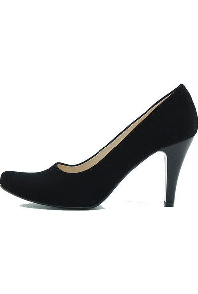 Aktenli 659 Kadın Topuklu Ayakkabı Siyah Süet