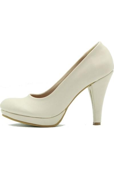 Aktenli 13111 Kadın Topuklu Ayakkabı Krem Petek