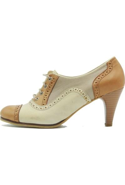 Tuğrul Ayakkabı 075 Tuğrul Kadın Topuklu Ayakkabı Krem