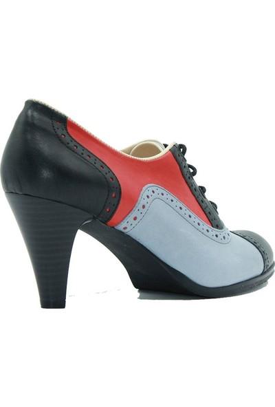 Tuğrul Ayakkabı 075 Tuğrul Kadın Topuklu Ayakkabı Siyah Mavi
