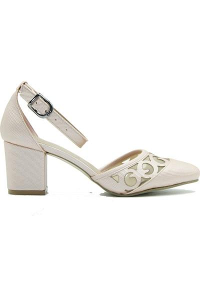 Aktenli 40223 Kadın Topuklu Ayakkabı Pudra
