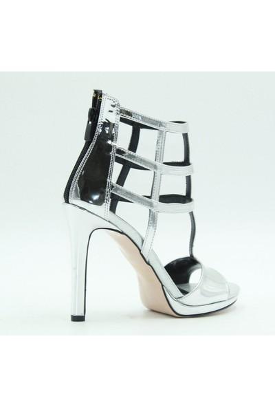 Meşhure 407 Meşhure Kadın Topuklu Ayakkabı Gümüş