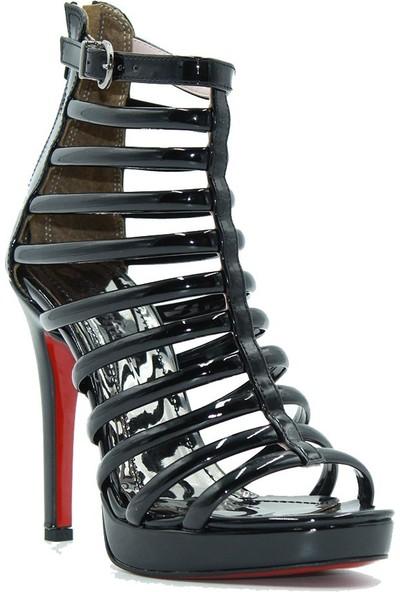 Meşhure 450 Meşhure Kadın Topuklu Ayakkabı Siyah Rugan