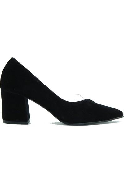 Tuğrul Ayakkabı 415 Tuğrul Kadın Topuklu Ayakkabı Siyah Süet