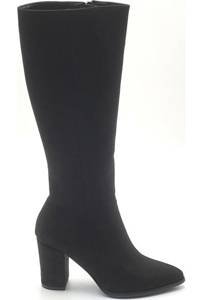 Allina 307 Kadın Çizme Siyah.Süet