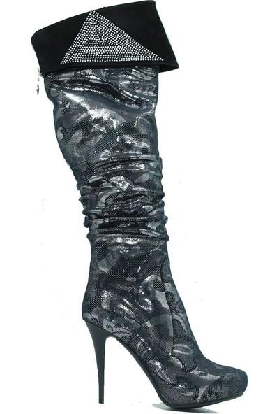 Tuğrul Ayakkabı 160 Özel Tasarım Kadın Çizme Gümüş