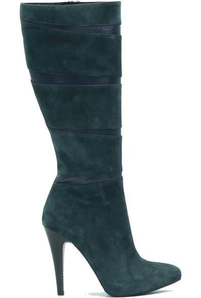 Tuğrul Ayakkabı 1200 Özel Tasarım Kadın Çizme Yeşil.Süet