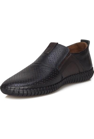 Flies Deri Siyah Casual Ayakkabı
