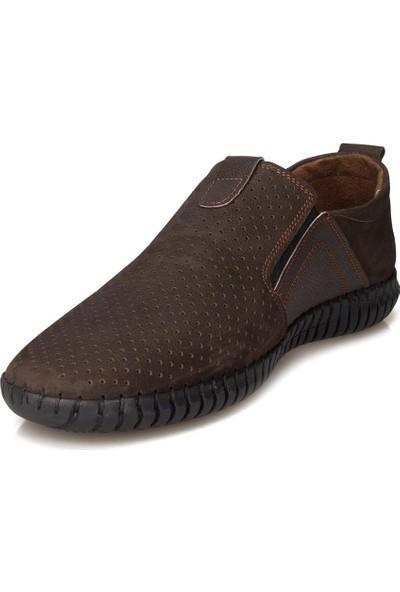 Flies Deri Nubuk Kahverengi Casual Ayakkabı
