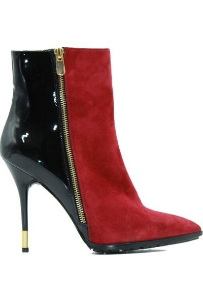 Tuğrul Ayakkabı 1004 Marco Rizzi Kadın Bot Kırmızı.Süet