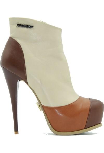 Tuğrul Ayakkabı 1018 Kadın Bot Krem Taba