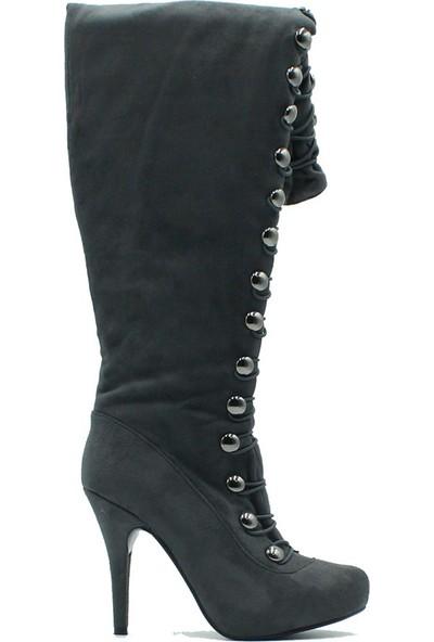 Tuğrul Ayakkabı 2000 İthal Kadın Çizme Gri