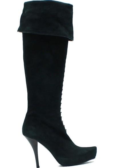 Tuğrul Ayakkabı 2004 İthal Kadın Deri Çizme Yeşil