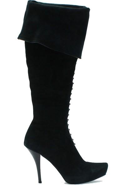 Tuğrul Ayakkabı 2004 İthal Kadın Deri Çizme Siyah