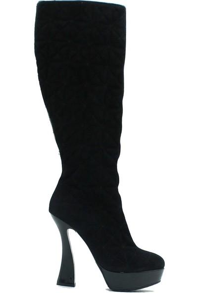 Tuğrul Ayakkabı 2007 İthal Kadın Deri Çizme Siyah.Süet