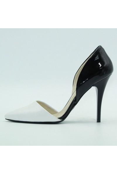 Tuğrul Ayakkabı 77 Garda Kadın Topuklu Ayakkabı Beyaz.Rugan