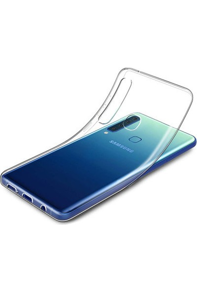 Aktif Aksesuar Samsung A9 2018 Şeffaf Silikon Kılıf Ultra Ince Lens Korumalı Tıpalı Kapak