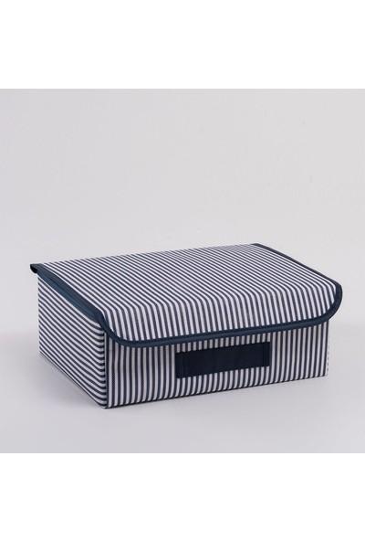 Ocean HomeLacivert Çizgili Çekmece İçi Kapaklı Kutu 30 x 23 x 11