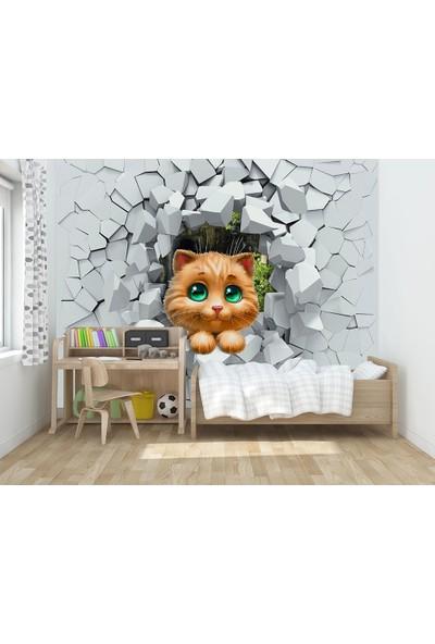 Moda Duvar Kedi 3D Çocuk Odası Vinil Duvar Kağıdı 200 x 140 cm CCK-00117-1
