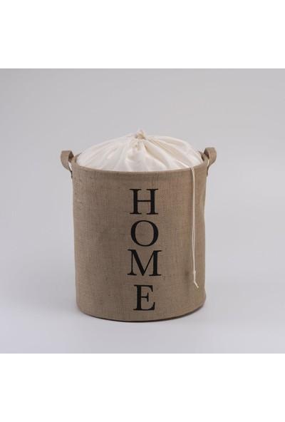 Ocean Home Ağzı Büzgülü Jüt Çamaşır Sepeti 36 x 40