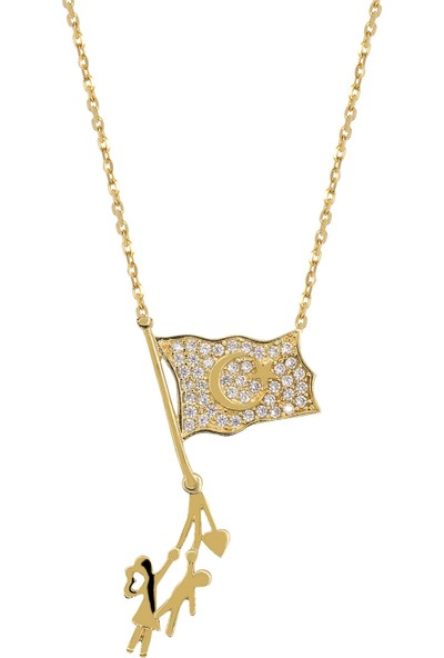 Cigold 8 Ayar Altın Bayrak Taşlı Kolye KL022604765